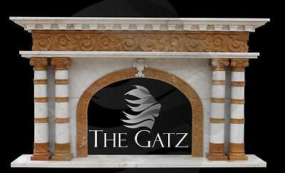 Exquisite Two Tone Handed Carved Marble Fireplace Mantel Featuring White & Gold