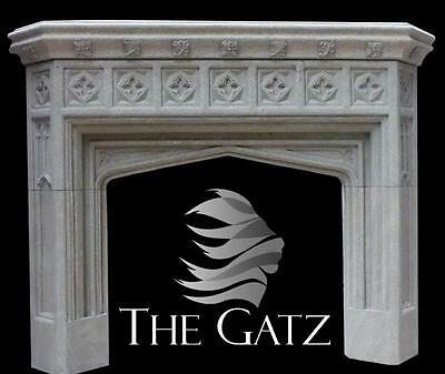 Traditional Gothic Fireplace Mantel Carved in Sandstone