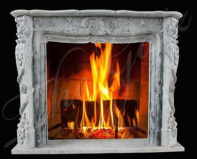 Hand Carved Marble Fireplace Mantel, French Style