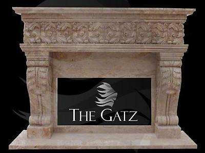 French Renaissance Style Hand Carved marble Fireplace Mantel