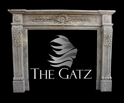 Hand Carved Marble Fireplace Mantel in Old World Design