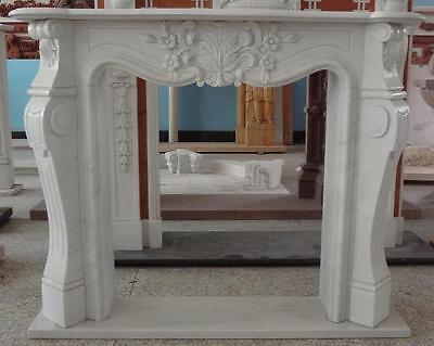 White Marble Fireplace Mantel with Classic French Design #3715