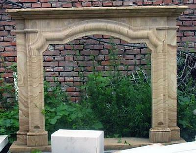 "Simple Hand Carved Sandstone Fireplace Mantel resembles Wood Grains, 45"" Tall"