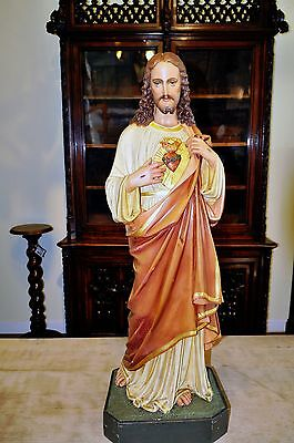 Antique Religious French Statue of Christ Jesus Hand Painted Large Model
