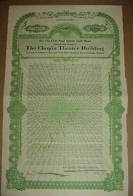 1917 The Chopin Theater Building Bond Stock Certificate Chicago Illinois
