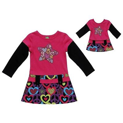 Dollie & Me Girl 4-6 and Doll Matching Drop Waist Dress Outfit ft American Girls