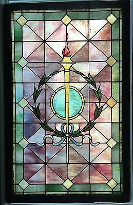 Massive antique victorian stained / leaded glass window - 5 ft tall