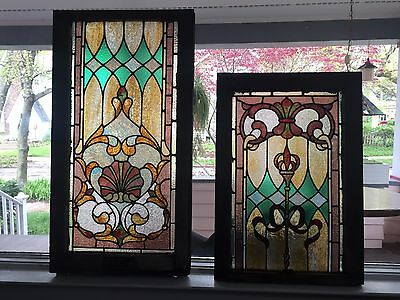 Matching Double Hung Victorian Leaded Art Glass Window Sashes
