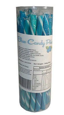 30 Candy Poles Blue & White Blueberry Lollies Candy Buffet Lolly Sticks