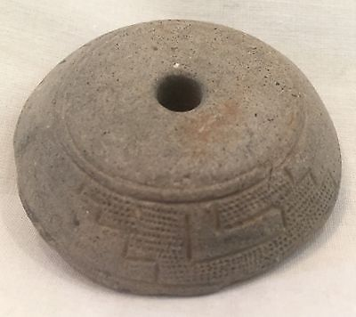 Large Pre-Columbian Toltec Stone Bead W/ Etched Design, c.1000 AD