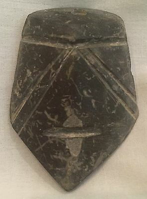 Pre-Columbian Mezcala Carved Dark Stone Face Mask, Carved Abstract Design