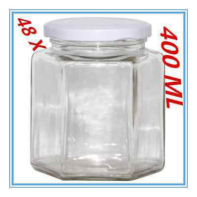 48 x Hexagon Shaped Clear White Screw Top Lid Lolly Storage JAR Small 400ML FWWW