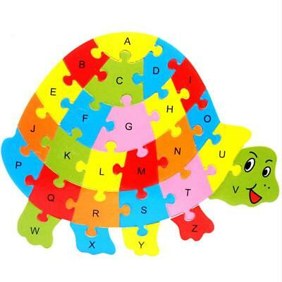 Wooden Turtle Animal Puzzle Alphabet Jigsaw Toy Preschool Children Boy Girl