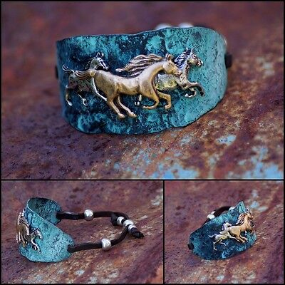 Cowgirl Hammered Metal Horse Cinch Bracelet - Patina