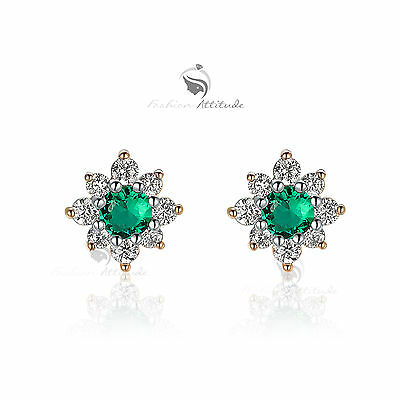 18k yellow gold gf made with SWAROVSKI crystal stud earrings flower blossom