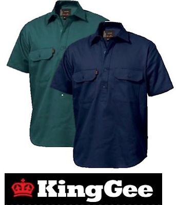 King Gee Workwear - Mens Closed Front Short Sleeve Drill Work Shirt K04060