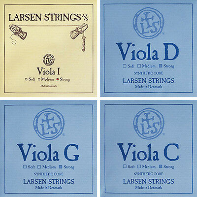 "Larsen Viola String Set (A Ball D G C) Strong Tension 15-16.5"" Size"