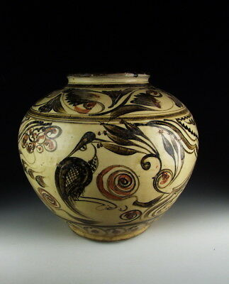 Chinese Antique Cizhou Ware Brown&Red Colored Porcelain Pot