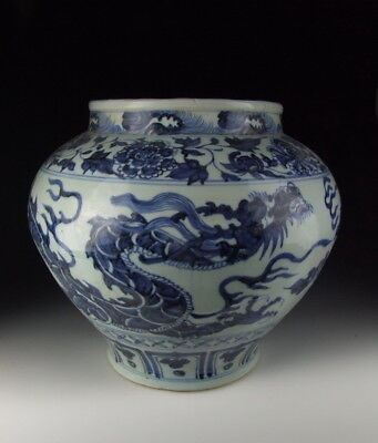 Chinese Antique B&W Porcelain Pot with Dragon Pattern