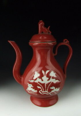 Chinese Antique Red Glazed Porcelain Wine Pot with Mandarin duck