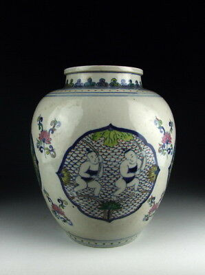 Chinese Antique Five Colored Porcelain Pot with Boy Pattern