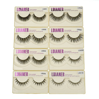 100% Real Mink Natural Thick False Eyelashes Fake Eye Lashes Makeup Extension