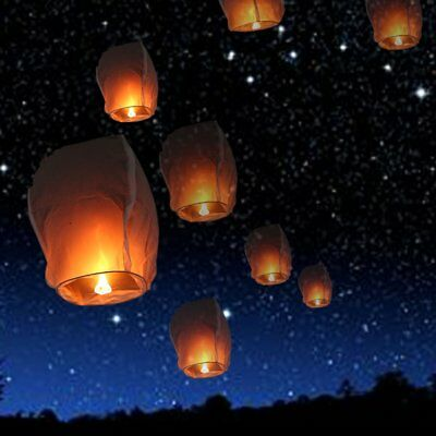 10PCS Sky Flying Paper Wishing Lanterns Lucky Light Wedding Party White