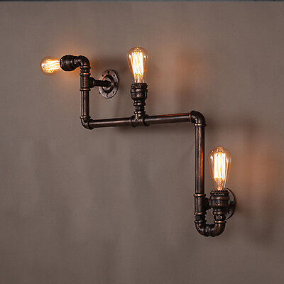 Industrial Steampunk Wall Lamp Iron Pipe Fixture Fitting Light Edison Cafe Bar
