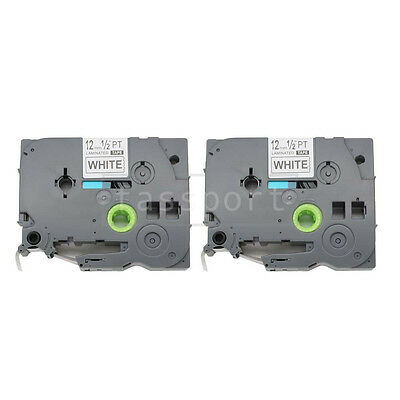 """2pk Black on White Tape Label Compatible for Brother PTouch TZ TZe 231 12mm 1/2"""""""