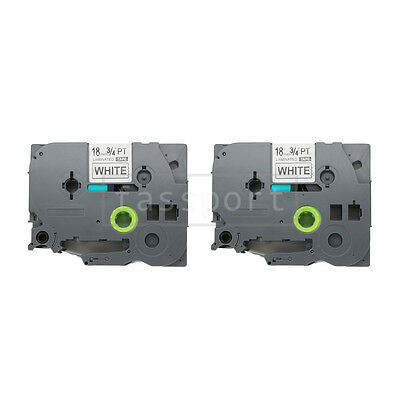 """2pk Black on White Tape Label Compatible for Brother PTouch TZ TZe 241 18mm 3/4"""""""