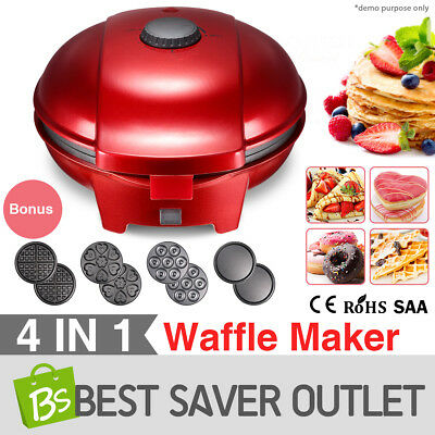 4 Detachable Plates 4in1 Belgian Waffle Pizza Cake Maker Cooker Snack Donut Oven