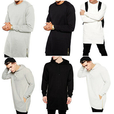 S-4XL Mens Casual T-shirt Long Sleeve Slim Fit Crew Neck Shirt Zip Tops Pullover