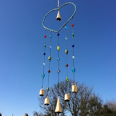 New Large Beaded Love Heart And Bells Metal Wind Chime Decoration Art Mobile