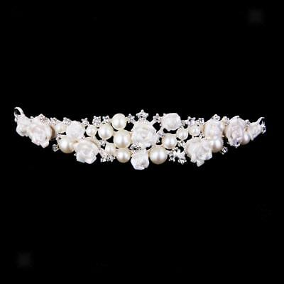 Bridal Bridesmaid Wedding Flower Crystal Pearl Diamante Crown Tiara Headband