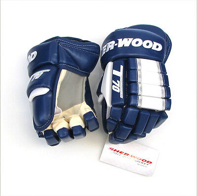 T70 glove (Blue/ White), ice hockey gloves, leather look hockey glove