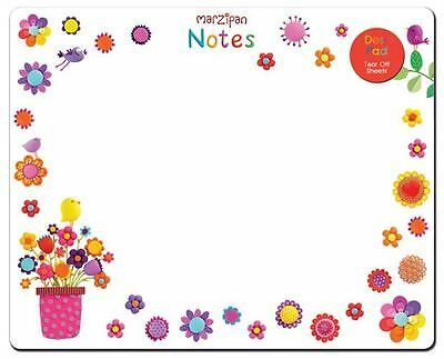 Flower & Birds Design Note Pad Tear Off Desk Pad