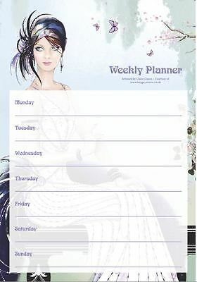 A4 Weekly Planner Art Deco Lady On Balcony Tear Off Planner