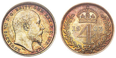 GREAT BRITAIN Edward VII 1903 AR Maundy Set NGC MS65-66 S 3985 Attractive tone