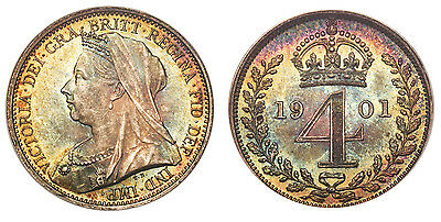 GREAT BRITAIN. Victoria. 1901 AR Maundy Set. NGC MS63-66. Mature bust SCBC-3943