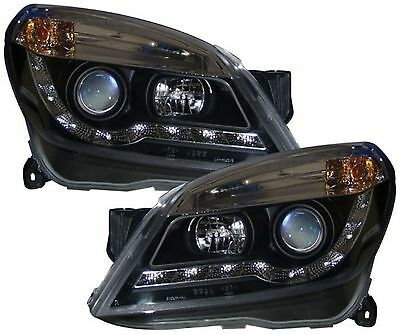 Vauxhall Astra Twintop H Mk5 Black Drl Led Devil Eye R8 Head Lights Lamps