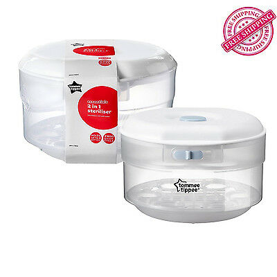 Tommee Tippee Essentials Microwave Baby Bottle Steriliser, Compact, BPA-free NEW