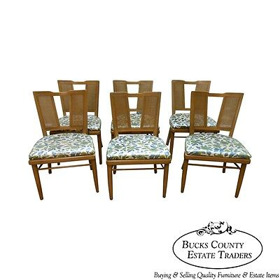 Vintage Mid Century Modern Blonde Set of 6 Dining Chairs