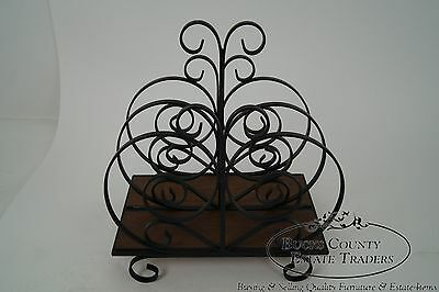 Custom Ornate Scrolled Wrought Iron Spanish Style Magazine Stand