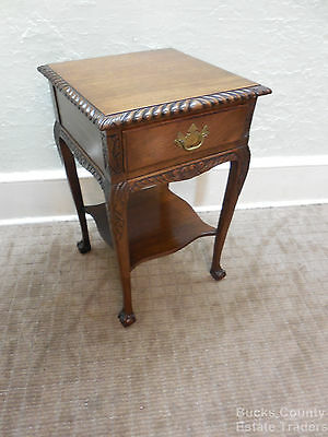 Antique 1920 Solid Mahogany Bench Made Chippendale Ball & Claw Carved Nightstand