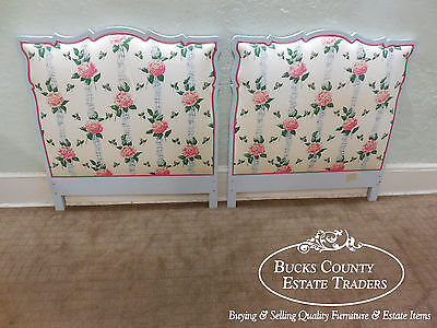 Custom Country French Style Pair of Painted and Upholstered Twin Size Headboards