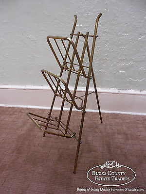 Mid Century Vintage Italian Brass Folding Collapsible Easel Magazine Stand