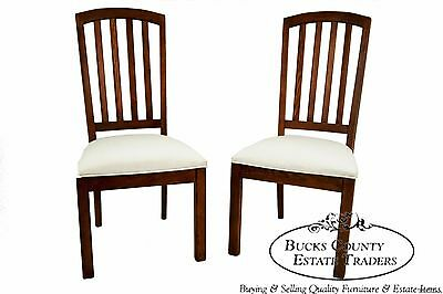 Stanley Mission Style Pair of Solid Oak Side Dining Chairs