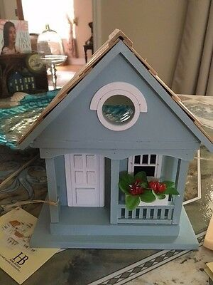 Victorian Cottage Bird house Bird Feeder Blue Summer HB Home Bazaar New