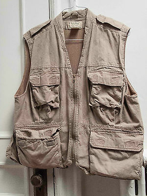 Photographer's (or outback) vest, used, sand, size L
