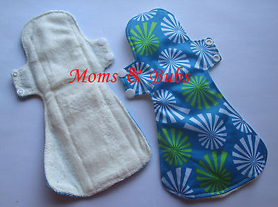 Pack of 2 New Women's Reusable Menstrual Cloth Pads Sanitary Pads Blue
